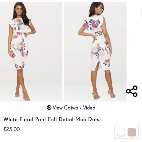 2f96dc17919 Pretty little thing white floral midi dress. Perfect for I a - Depop