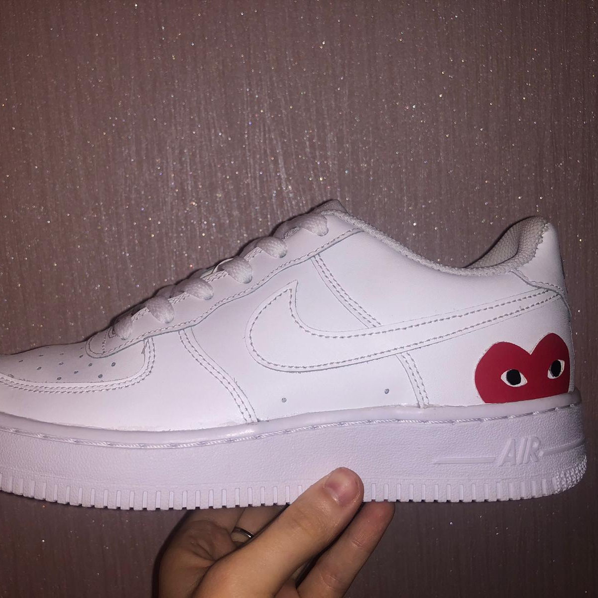 CUSTOM Air Force 1 X CDG❤️ Faux leather