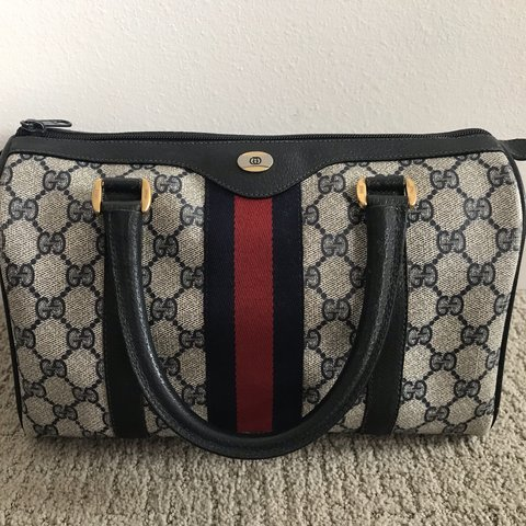 d02eb88e01c Authentic Vintage gucci Boston bag! In the classic navy and - Depop
