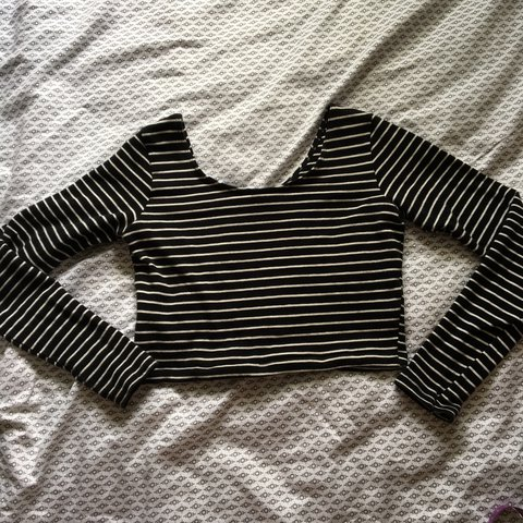 6d4af8a4ee06e6 American Apparel Pin-Striped black and white long sleeve but - Depop