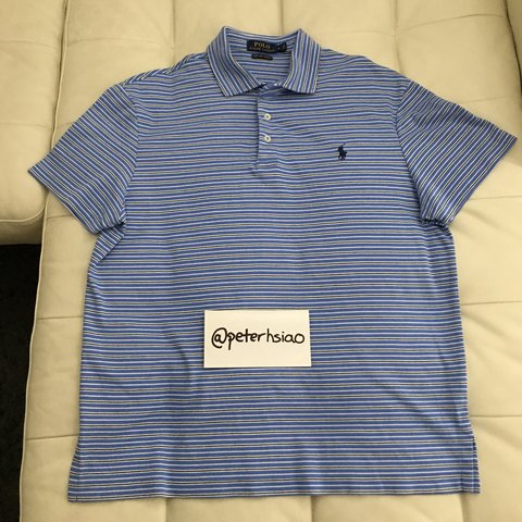63861d9ab Polo Ralph Lauren Men s Pima Soft Cotton Striped Polo Shirt - Depop