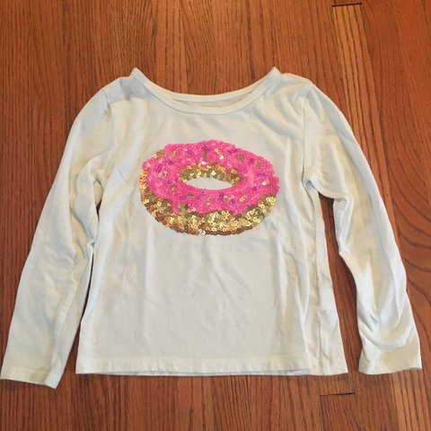 184cd92532979 L S white shirt with a pink sequence donut. Sz XS 4  donut - Depop