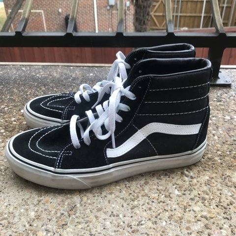 6000493e2 black old skool sk8 hi vans in perfect condition! in a size - Depop