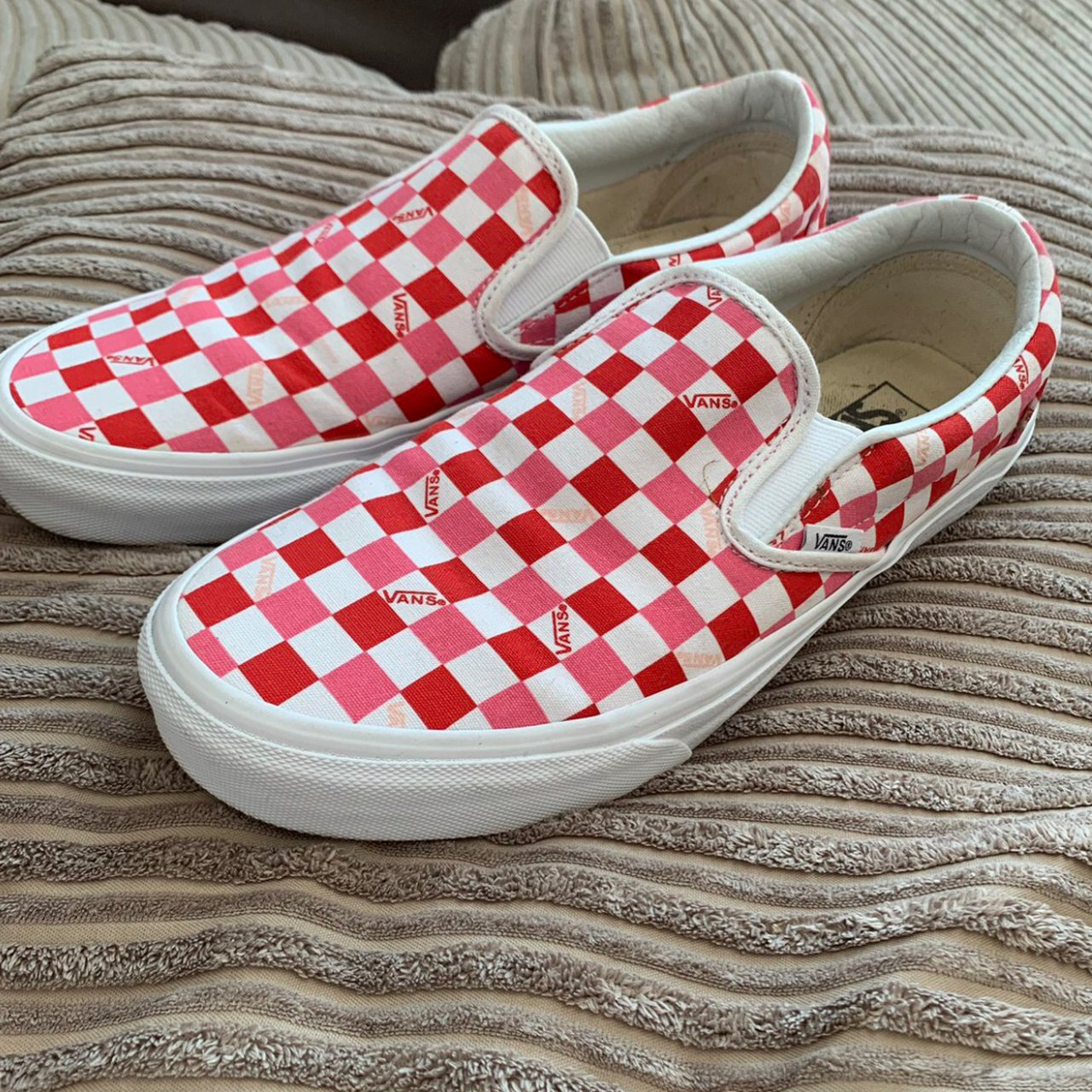 Pink and Red checkered Vans Slip on