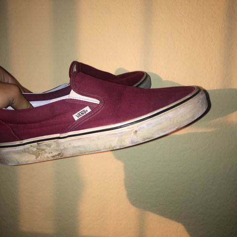 1f46c65172f Maroon vans slip ons. WILL BE CLEANED IF PURCHASED!! One of - Depop