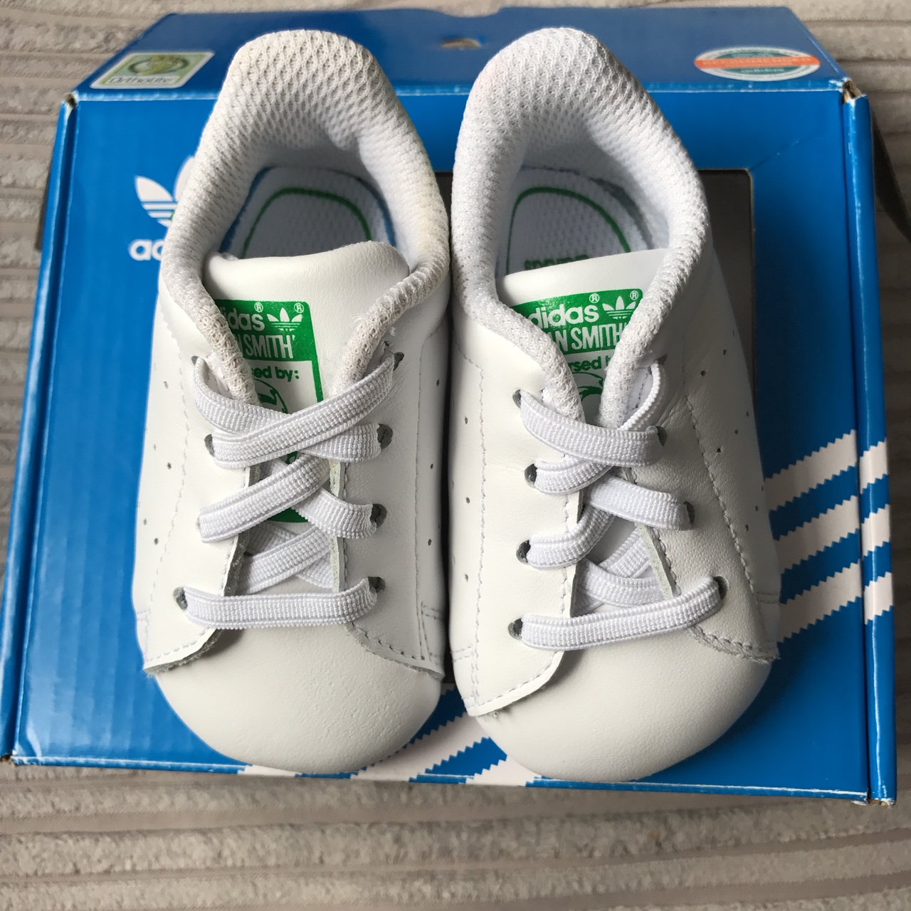 outlet store bf0bd ab4b6 Baby adidas Stan Smith crib shoes, size 3-6 Months... - Depop