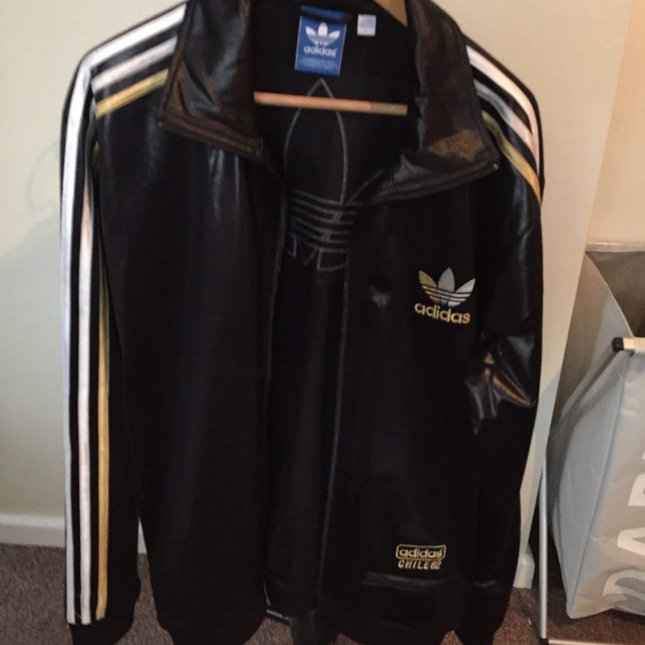 Black vintage Adidas originals bomber jacket chile Depop