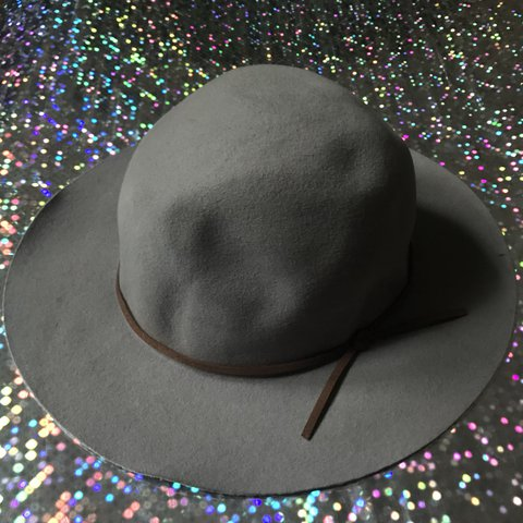 Thin grey wool hat with brown suede trim Msg for bundles   - Depop 235576fb670b