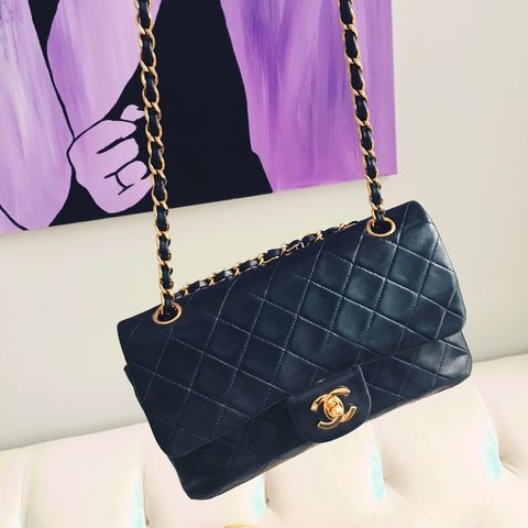 a1471a18d2b7c0 Up for grabs is a beautiful vintage Quilted Chanel Black Bag - Depop
