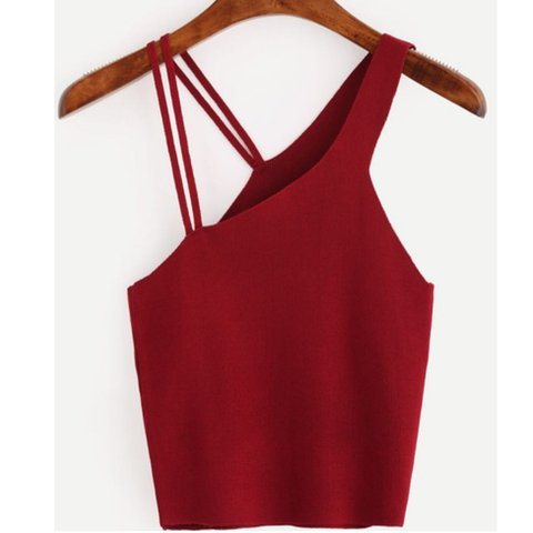 c3ffd31922037c ✨Assymetrical burgundy crop top. Worn once perfect fit size - Depop