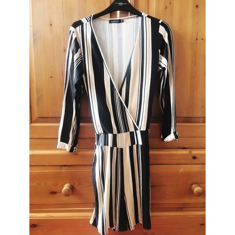 0fe191e6335 Boohoo striped playsuit in size 12