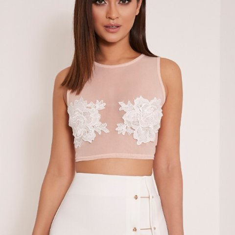 Nude Mesh Crop Top And White Flowers Worn Once On Holiday Depop