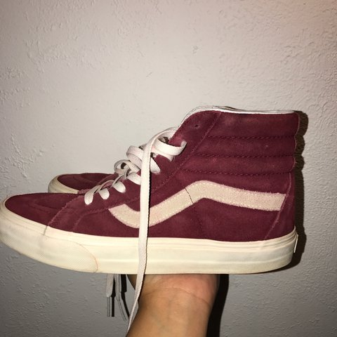 2ccabfcf4318 maroon suede sk8-hi vans worn multiple times still and on - Depop