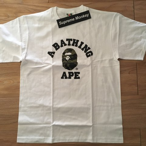 905955a5 Bape 1st Camo College Tee Color : White/Yellow : New with : - Depop