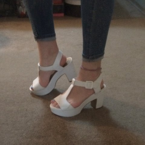 2ce68206cc newlook size 3 wide fit, white block heeled sandals, for as - Depop