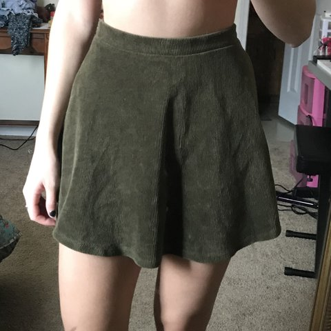 00f8a846d7 Size small Forever 21 corduroy olive green skater skirt! has - Depop