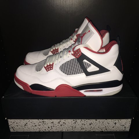 Nike Air Jordan 4 IV Fire Red 9 10 condition Only flaw is a - Depop 150ec5da8