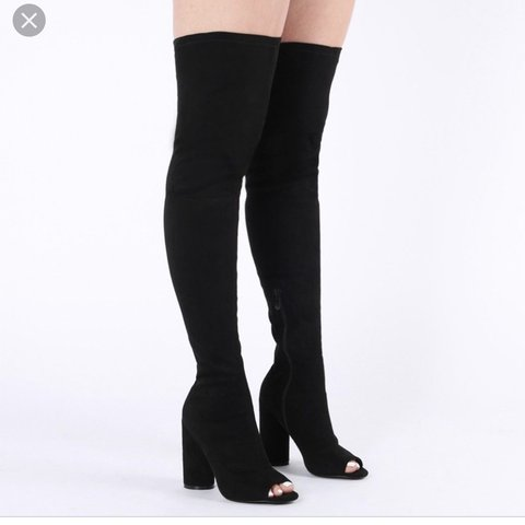 d70fd461150 Thigh  knee high boots in black faux suede with peep toe. - Depop