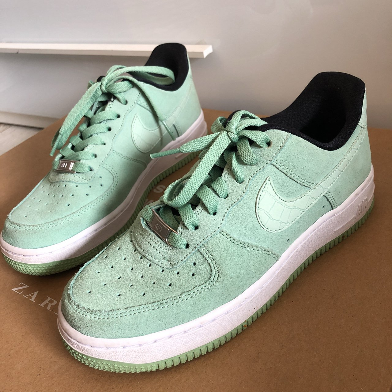 c795ee3f40b7 Nike Air Force mint green perfect condition size 4 MESSAGE - Depop