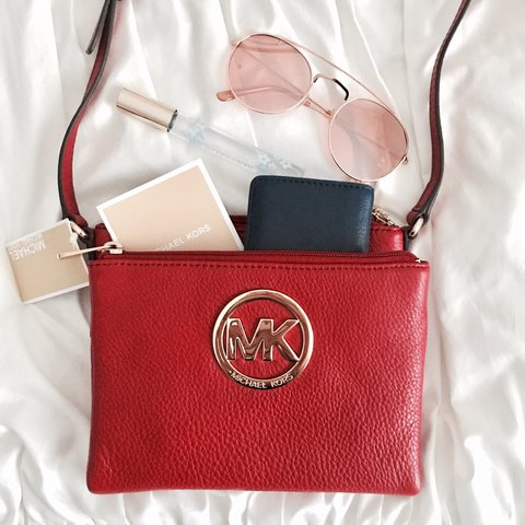 2877500f1694 @vicstrong. 2 years ago. New York, NY, USA. NWT Authentic MICHAEL Michael  Kors Fulton Crossbody / authentic red ...