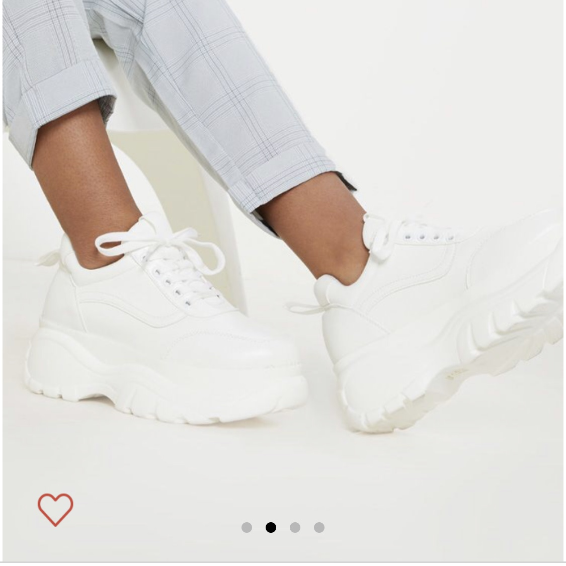WHITE CHINKY SOLE PLT TRAINERS SIZE 5