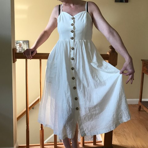 aa6c8d74baa 🌸UO COOPERATIVE EMILIA LINEN BUTTON DOWN MIDI DRESS🌸 RTP   - Depop