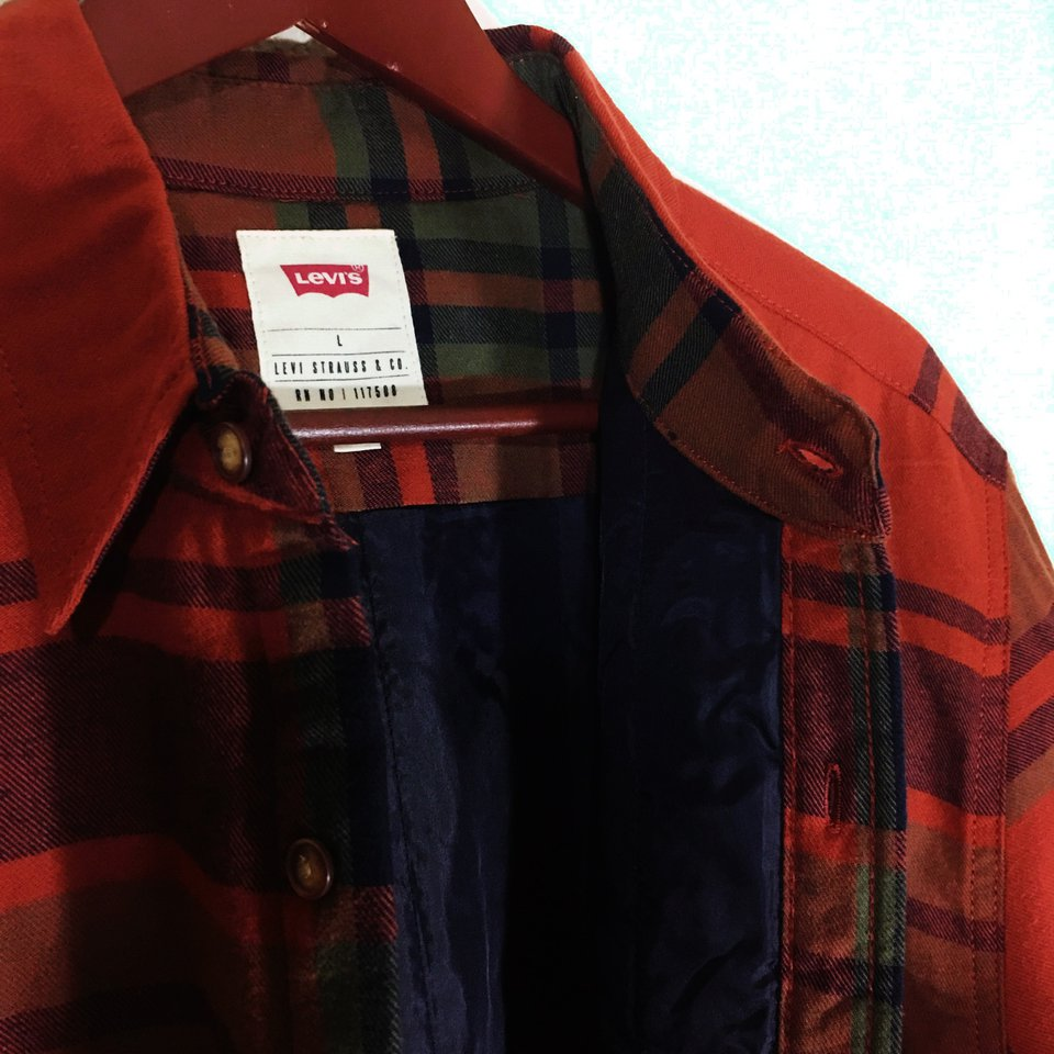 store, levi, levis, new, jacket, flannel, flannel jacket, plaid, plaid jacket, fall, autumn, winter, orange pixie fuzz