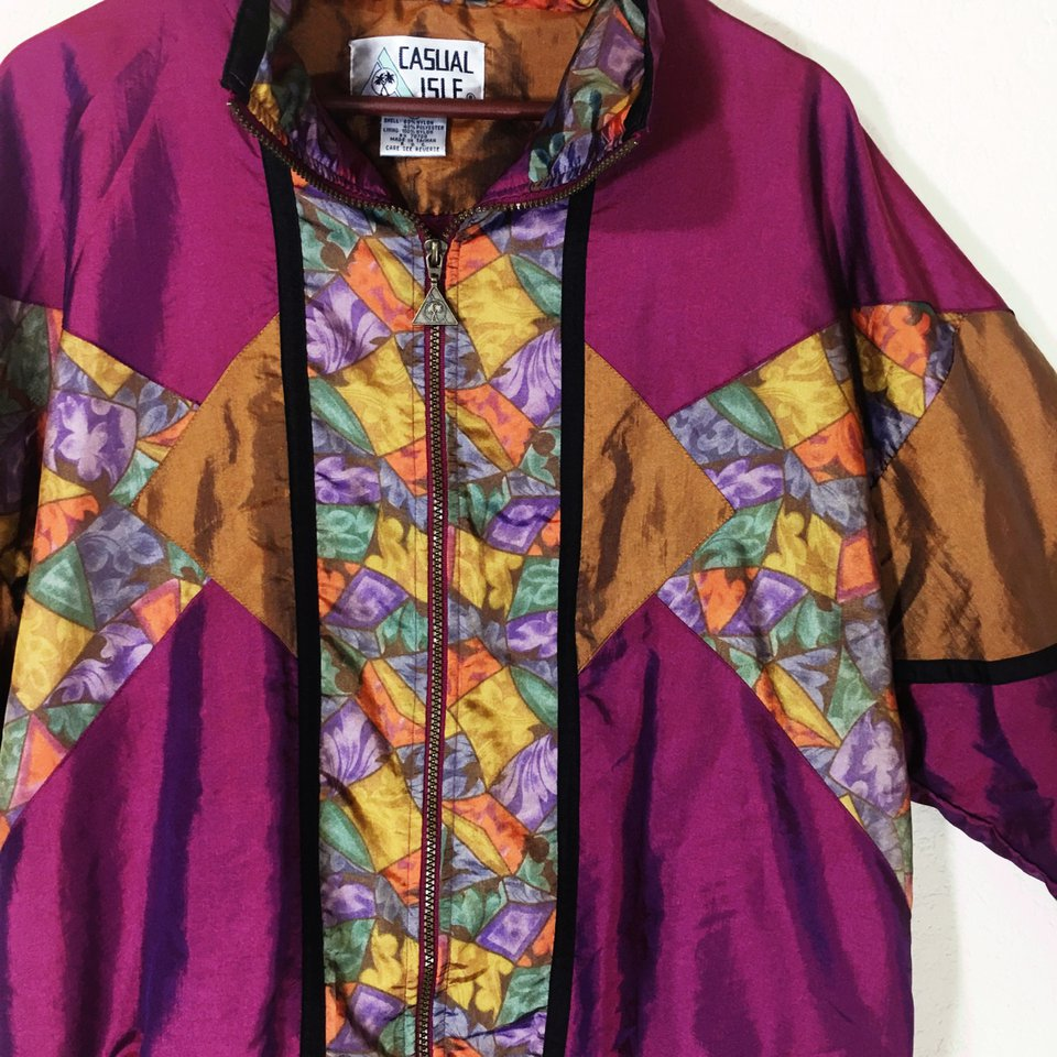 vintage jacket, windbreaker, funky, zipper, 1990s and 1980s style bright and loud