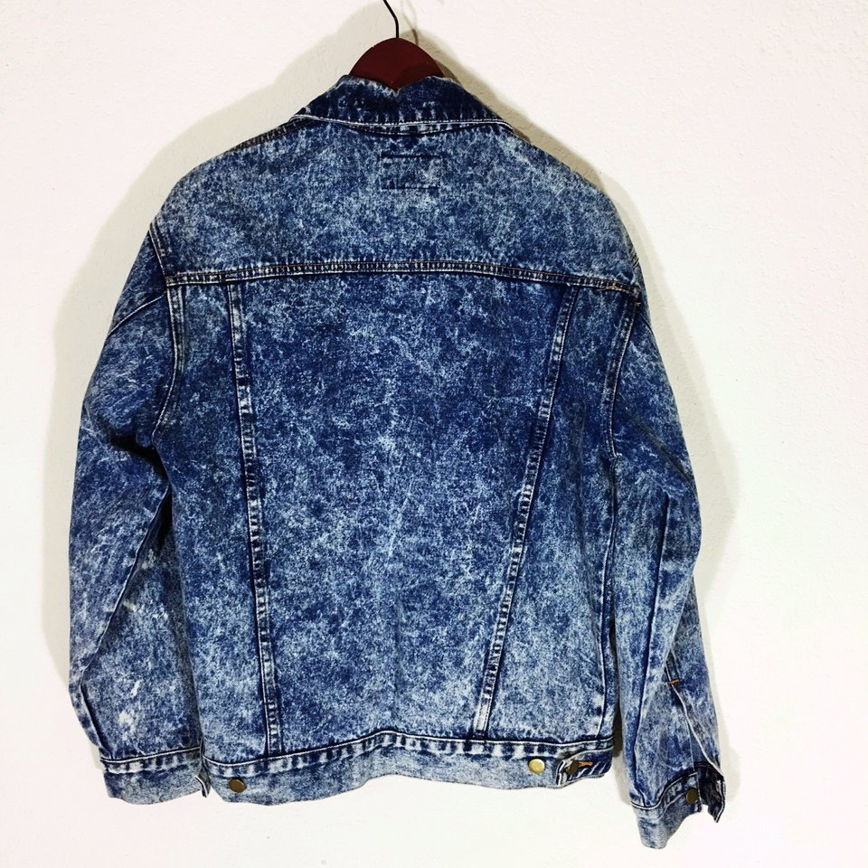 vintage denim jacket from 90s pixiefuzz, stone washed austin texas