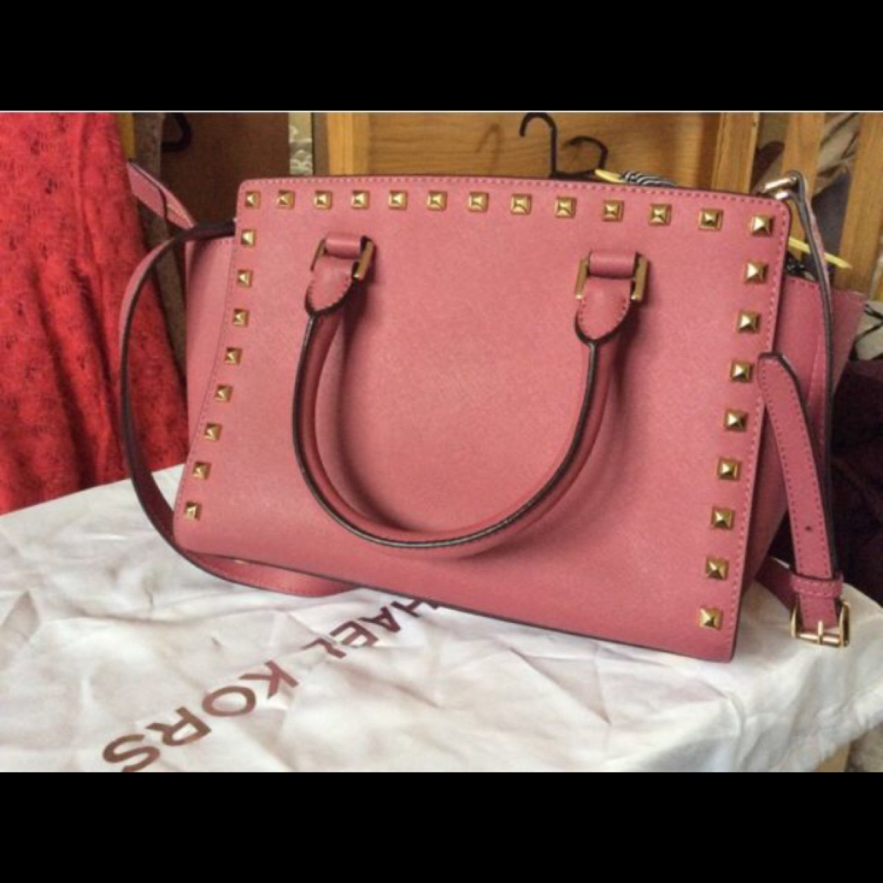 08c110399862 Michael Kors bag with studs never been used beautiful colour - Depop