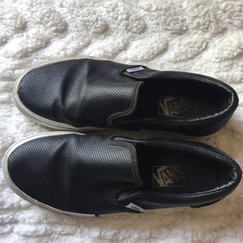 fff239cf36c FAUX LEATHER SLIP ON VANS Super cute   can go with anything. - Depop