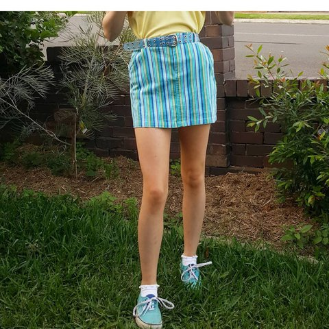 d1fbe0ea56 @charlotte_claymore. last year. Campsie, Canterbury City Council,  Australia. Mini skirt with vertical stripes in blue green and white.