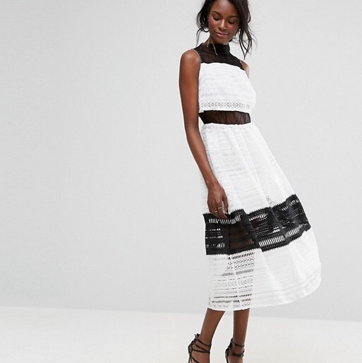 Asos Boohoo Exclusive White And Black Lace Midi Depop