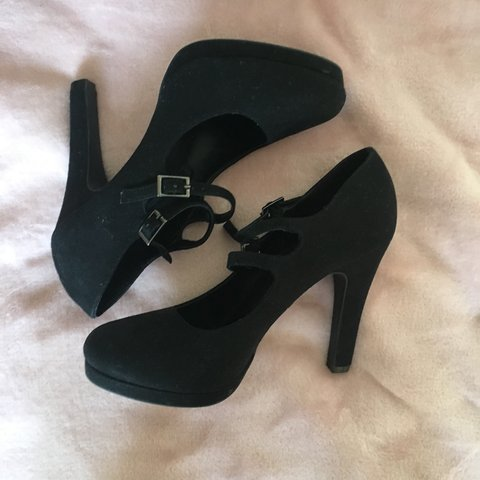 f855c0da1ac Deichmann black high heels with buckles Size  39 -UK 6 a 5 - Depop