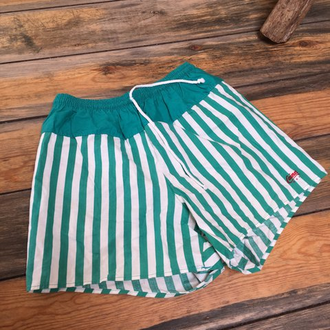 5ea0990c0 @tannervintage. 2 years ago. Monmouthshire, United Kingdom. Caines vintage swimming  trunks. Green and white vertical stripes ...