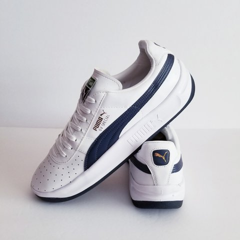 2425ce75c33 PUMA GV Special Men s Size 11.5 White Navy Gold In Very Good - Depop