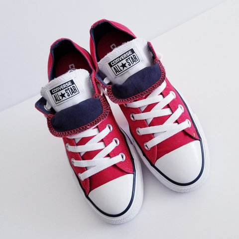 8ff98f0b630d Converse Red All Stars Sweet converse with a navy blue and - Depop