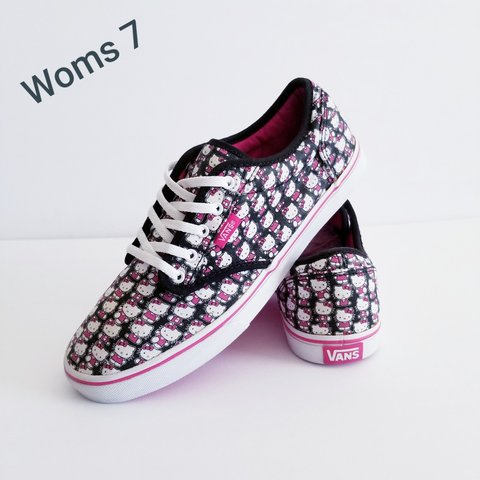 6b4fd55006 VANS Hello Kitty Low Tops Women s Size 7 Pink Black White In - Depop