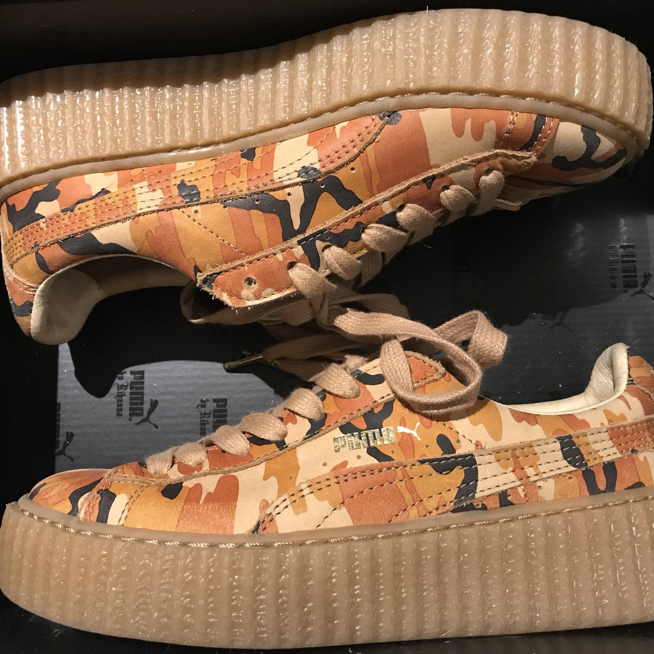 54740c33e23493 Rihanna Fenty x Puma orange camo creepers 🧡 I bought these - Depop