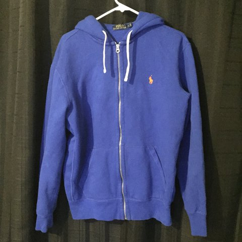 Blue Orange Polo Ralph Lauren Zip Up Hoodie Depop