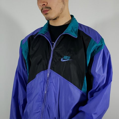 2b1a7a9c766b55 Vintage grey tag early 90s Nike jacket purple turquoise with - Depop