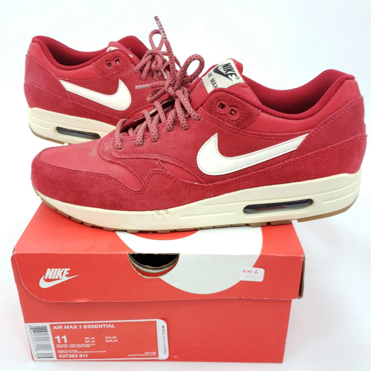 nike air max 1 essential red suede