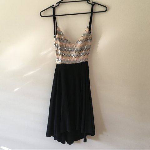 870560cac8a5 Bronze gold silver sequinned black skater dress