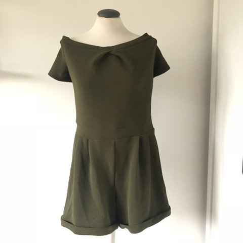 f72b8a5e09 Khaki green Bardot playsuit from Cameo Rose at New Look in - Depop