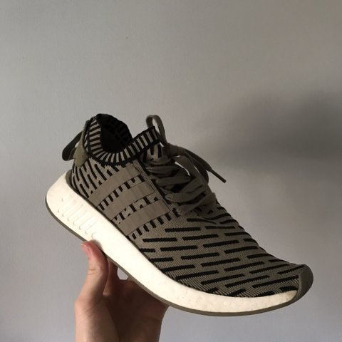 233f45130 Adidas NMD R2 Primeknit- Trace Cargo- UK 9- Great Condition - Depop