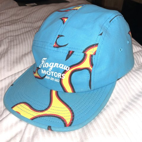 "2a21297ad9b2 GOLF WANG ""FLOGGNAW MOTORS"" BLUE FLAMES CAMP HAT NEVER W  TO - Depop"