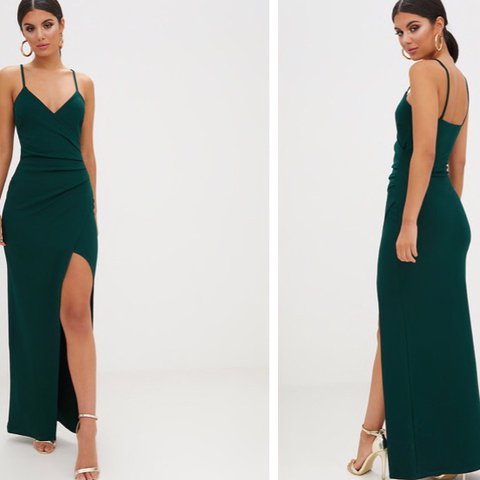 e72b4df5094 Pretty little thing - Emerald Green Wrap Front Crepe Maxi on - Depop