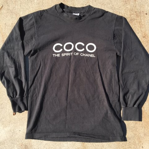 e3ec06f621ae35 90s vintage bootleg Coco Chanel Long Sleeve shirt. It says a - Depop