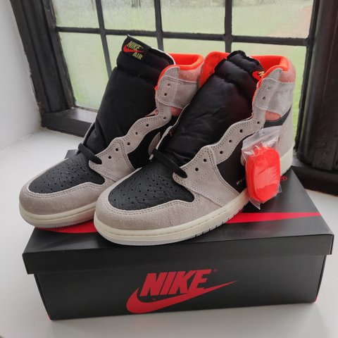 a24d3443179f Nike air Jordan 1 high og (Neutral grey hyper crimson) - new - Depop
