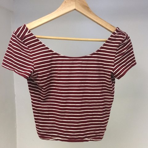 9333996cea8291 Burgundy striped crop top. It would fit a medium perfectly